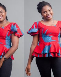 Red with blue flower ankara African fabric double peplum top